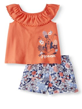 Moana Tank Top and Shorts, 2pc Outfit Set (Toddler Girls)