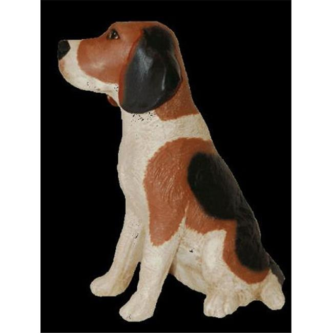 Ladybug 6318HP Outdoor Painted Crushed Marble Resin Sitting Beagle Lawn Garden  Statue