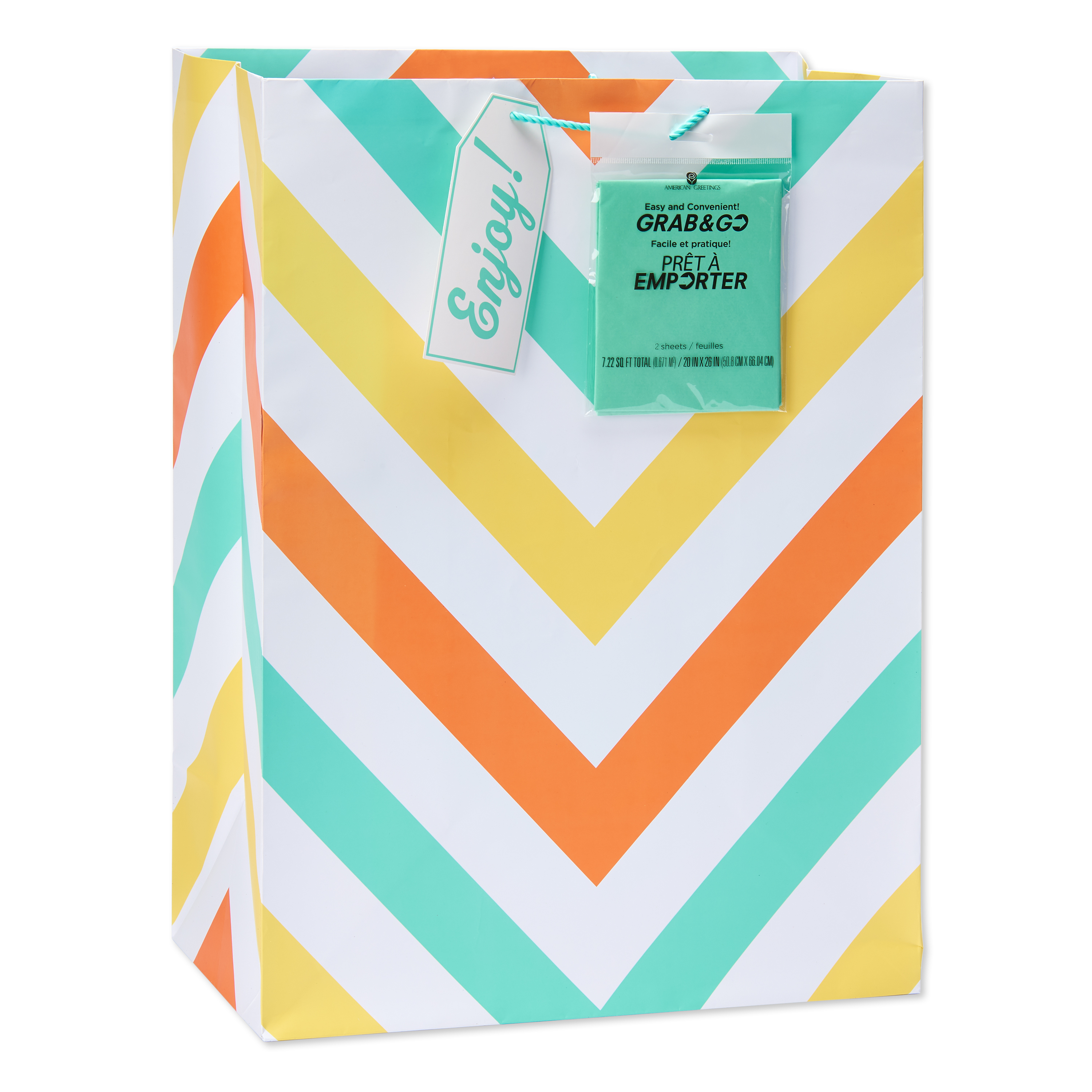 American Greetings Jumbo Chevron Stripes Gift Bag with Teal Tissue Paper