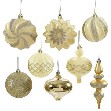 Set Of 18 Cream Champagne Gold Ball Finial And Onion Shatterproof Christmas Ornaments 3 6 Walmart Com Walmart Com