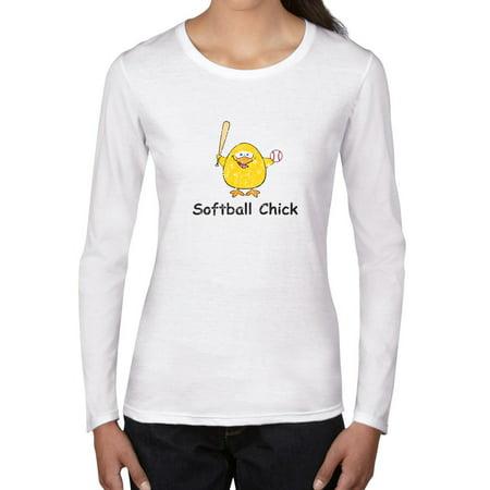 Softball Chick Cartoon Bird Swinging Softball Bat Women