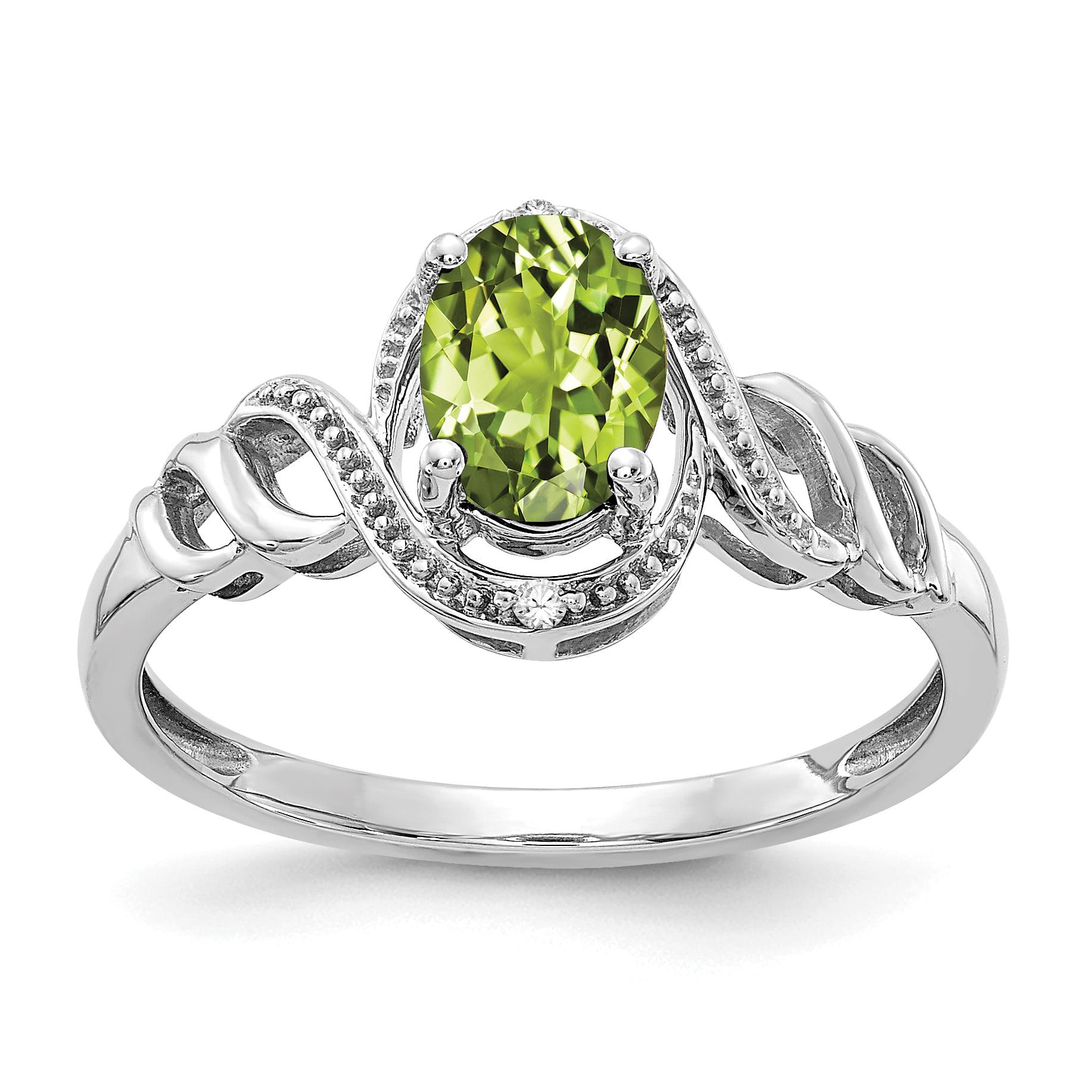 10k White Gold Peridot Diamond Ring by Saris and Things QG