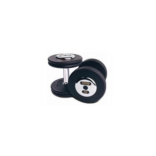 Troy Barbell PFD-075C Black Troy Pro-Style Cast dumbbells - Chrome endplates - 75 lbs.  - Sold as Pairs