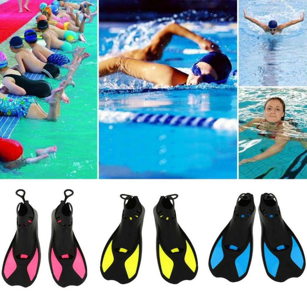 Girl12Queen 1 Pair Kids Adults Full Foot Water Fins Diving Swim Training Learning Flippers