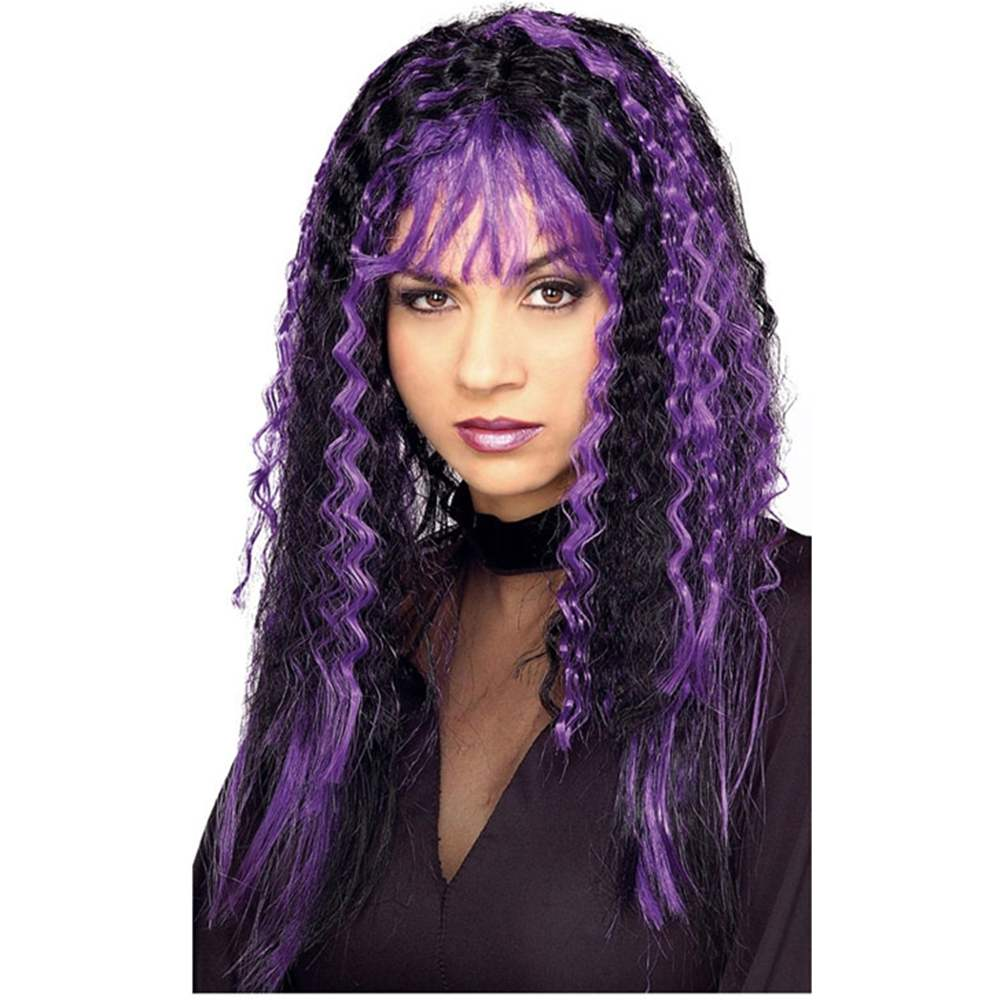 Black and Purple Sinister Crimped Wig