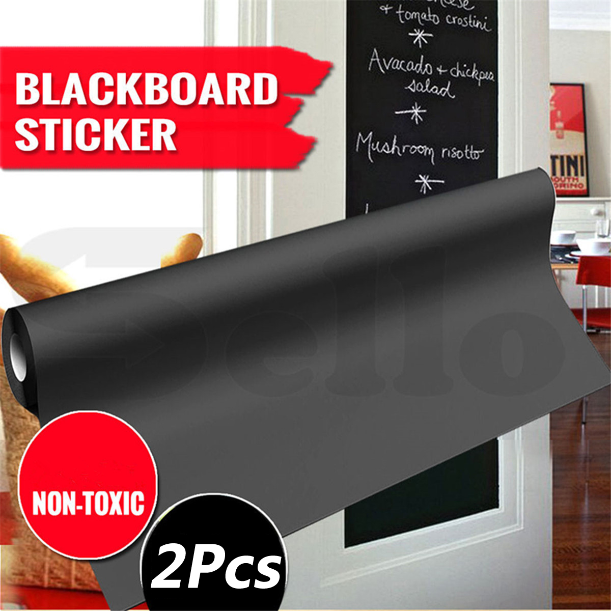 2Pcs 200CMX60CM Blackboard Sticker Self-Adhesive Wall Sticker Wall Paper Chalkboard Contact Paper For School ... by
