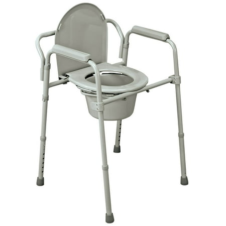 Folding Commode, Portable Toilet and Bedside Commode Chair, Includes Splash Guard/Bucket/Lid Cover Commode Splash Shield