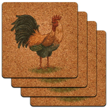 Vintage Rooster on Floral Background Chicken Farm Bird Low Profile Cork Coaster (Floral Rooster)