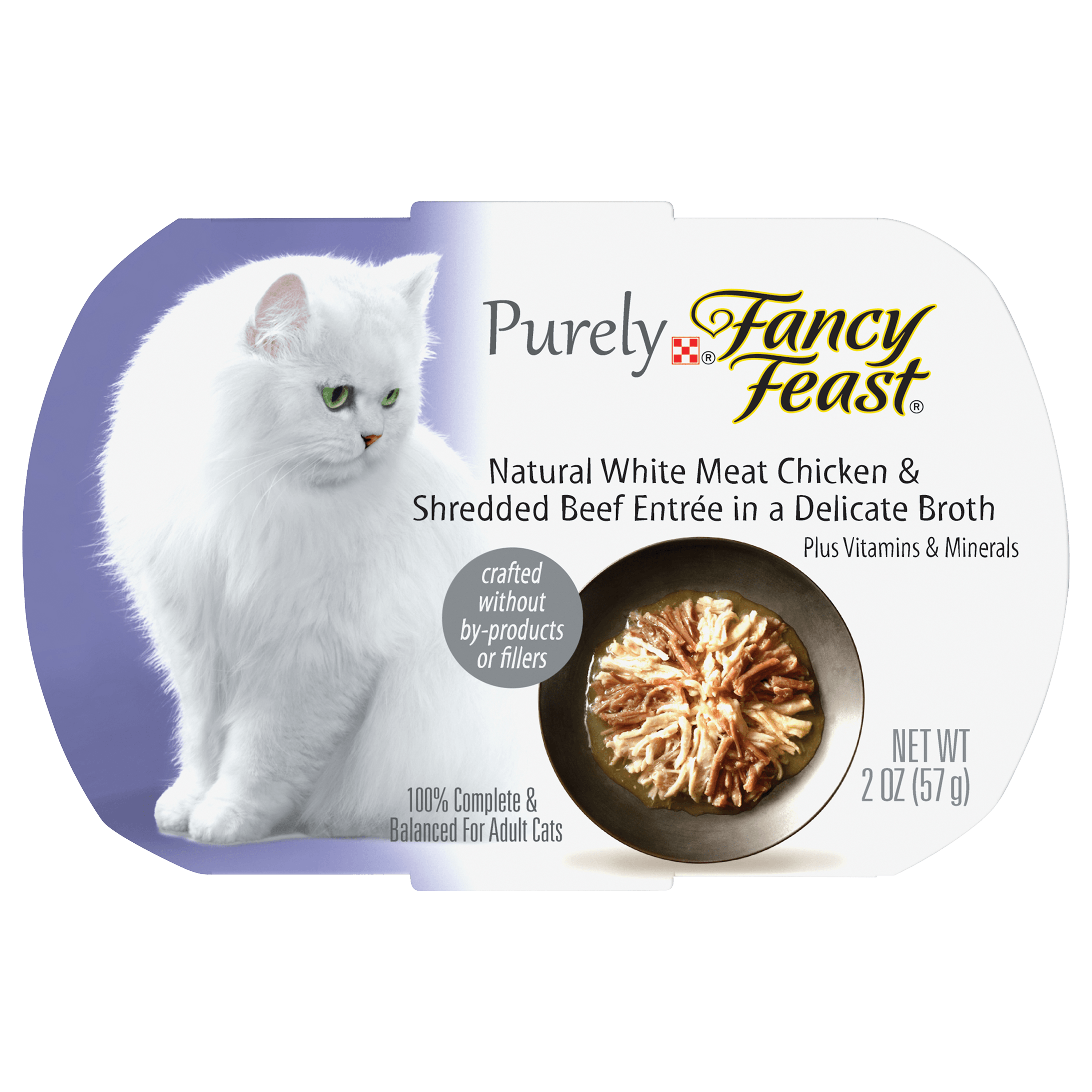 (4 Pack) Purina Fancy Feast Purely Natural White Meat Chicken & Shredded Beef Entree Adult Wet Cat Food - 2 oz. Tray