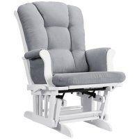 Angel Line Sleigh Multi-Position Reclining Glider, White with Gray Cushion