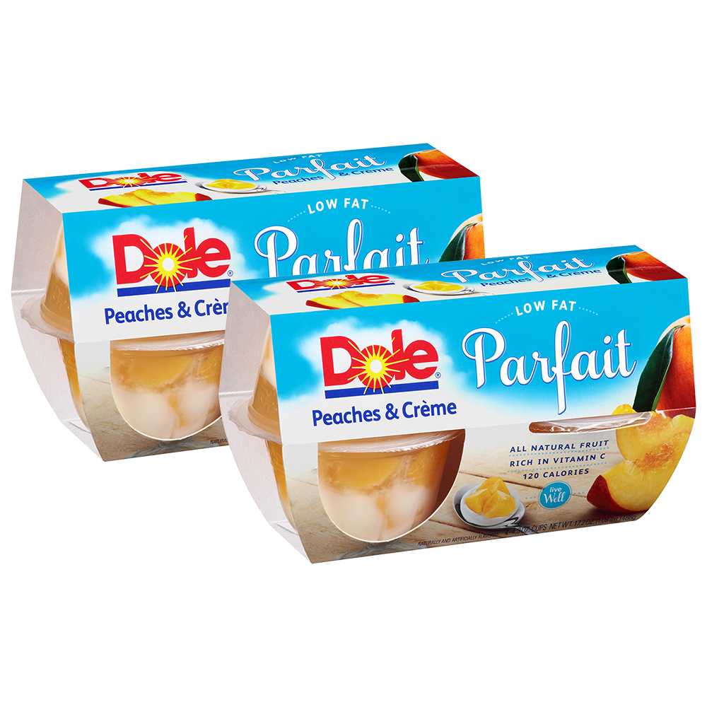 (8 Pack) Dole Fruit Bowls, Peaches & Creme Parfait, 4.3 Ounce (4 Cups)