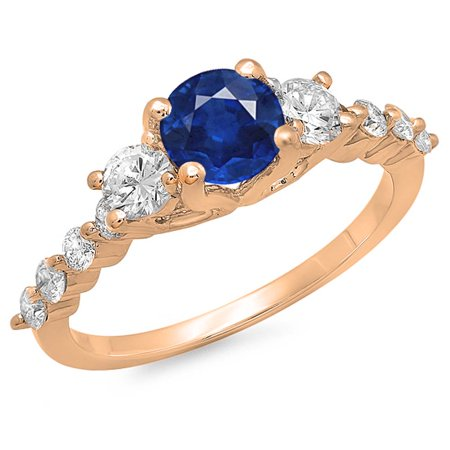 1.50 Carat (ctw) 18K Rose Gold Round Blue Sapphire & White Diamond Ladies Bridal 3 Stone Engagement Ring 1 1/2 CT