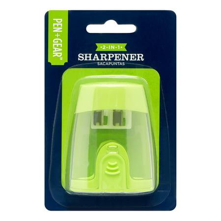 (5 Pack) Pen + Gear 2-Hole Manual Sharpener (Green)