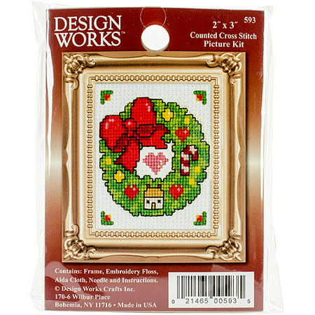 Wreath Ornament Counted Cross Stitch Kit, 2