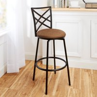 """Transitional Avery 30"""" Barstool with Beige Woven Swivel Seat, Matte Black Finish"""