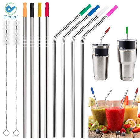 Deago Set of 8 Stainless Steel Straws Ultra Long 10.5 Inch Drinking Metal Straws For Tumblers Coffee Juice Cold Beverage (4 Straight & 4 Bent & 2 Brushes & 8 Silicone