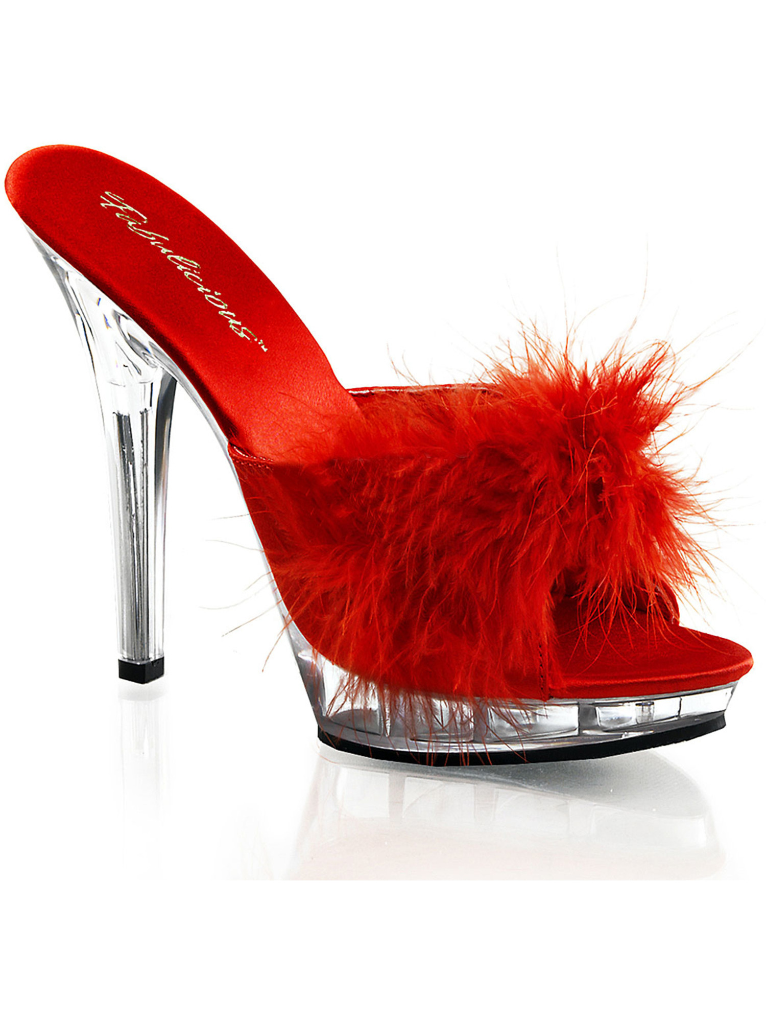 5 Inch Sexy Lingerie Shoe High Heel S On Slide With Marabou Faux Fur Red