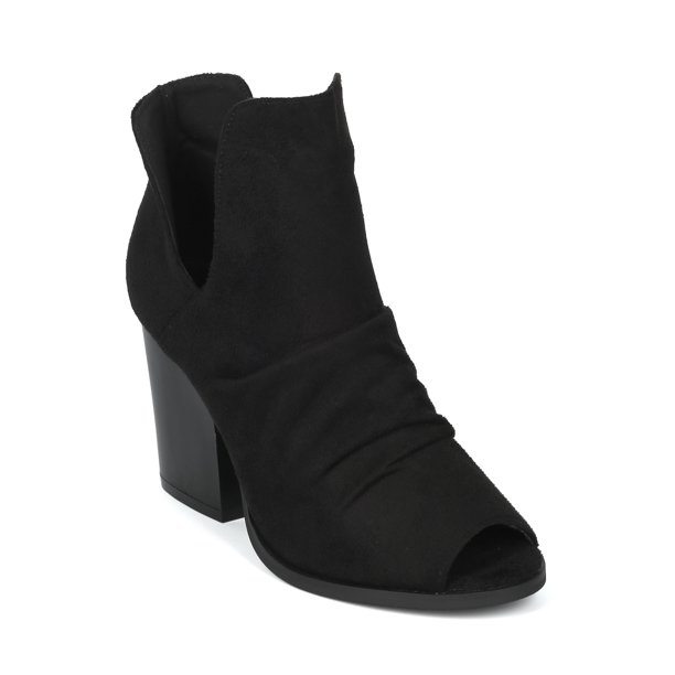 New Women Faux Suede Peep Toe Block Heel Bootie - 18072 By Yoki Collection