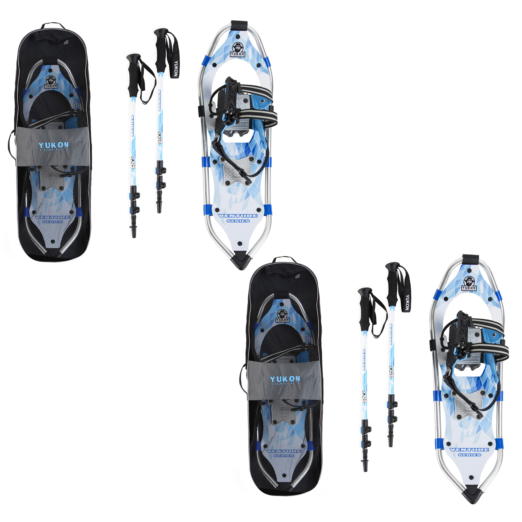 Yukon Charlie's Advanced 8 x 21 Inch Womens Snowshoe Kit w  Poles & Bag (2 Pack) by Yukon Charlie's