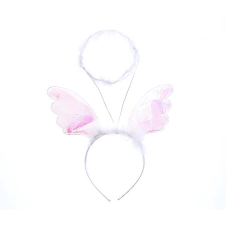 Halo And Angel Wings (Pretend Play Dress Up Mozlly White Angel Halo Fluffy Headband with Wings (Multipack of)