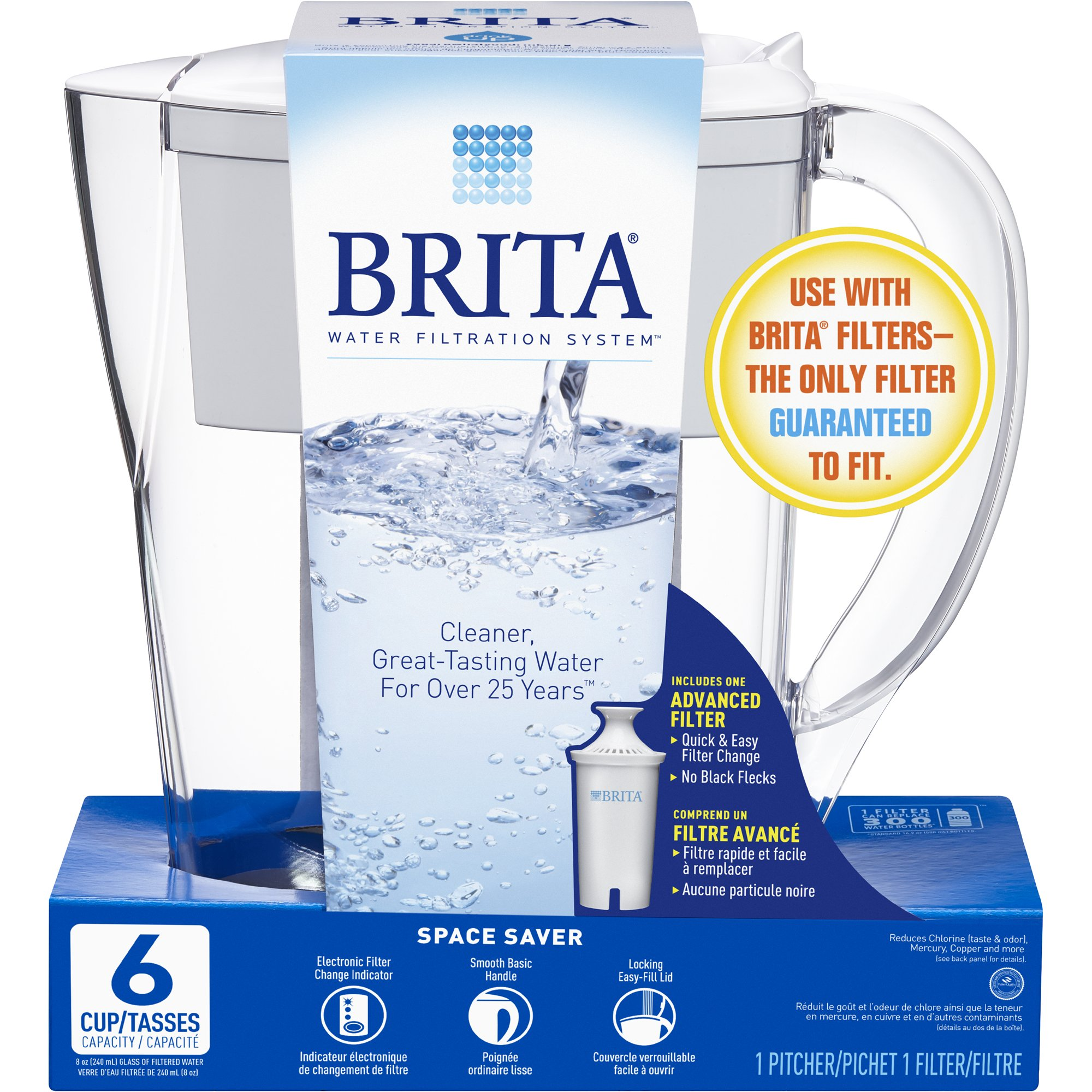 brita space saver bpa free water pitcher with 1 filter white 6 cup - Water Filter