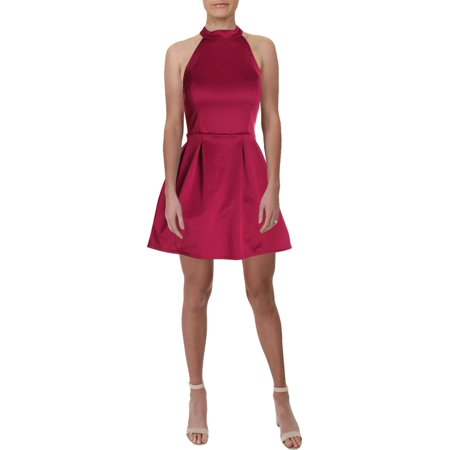 Crystal Doll Womens Juniors Illusion Halter Party Dress Pink 11