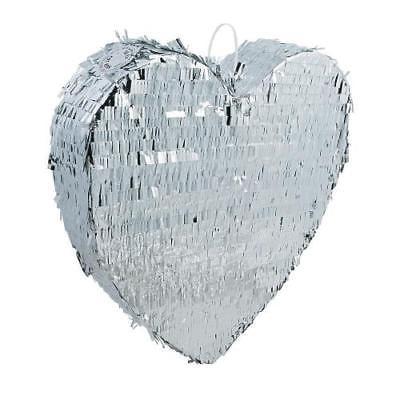 IN-13785592 Silver Metallic Heart Pinata 1 Piece(s)
