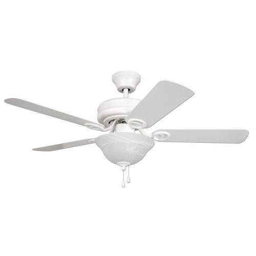 """Mainstays 42"""" Dual Mount Ceiling Fan with Light Kit, Matte White"""