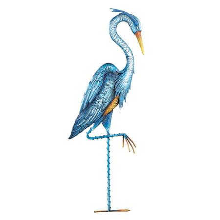 Blue Heron Crane Metal Garden Décor - Hand-Painted Yard Stake, Blue (Yard Decor Ideas)