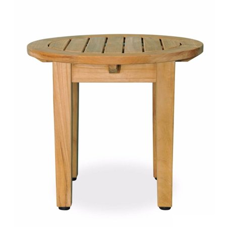 18 5 Natural Teak Wooden Outdoor Patio Round Side Table With Tapered Legs