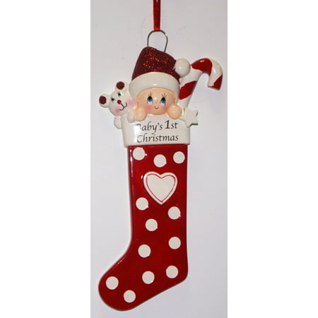 Baby Long Stocking Red Personalized Christmas Ornament DO-IT-YOURSELF](Christmas Art For Toddlers)