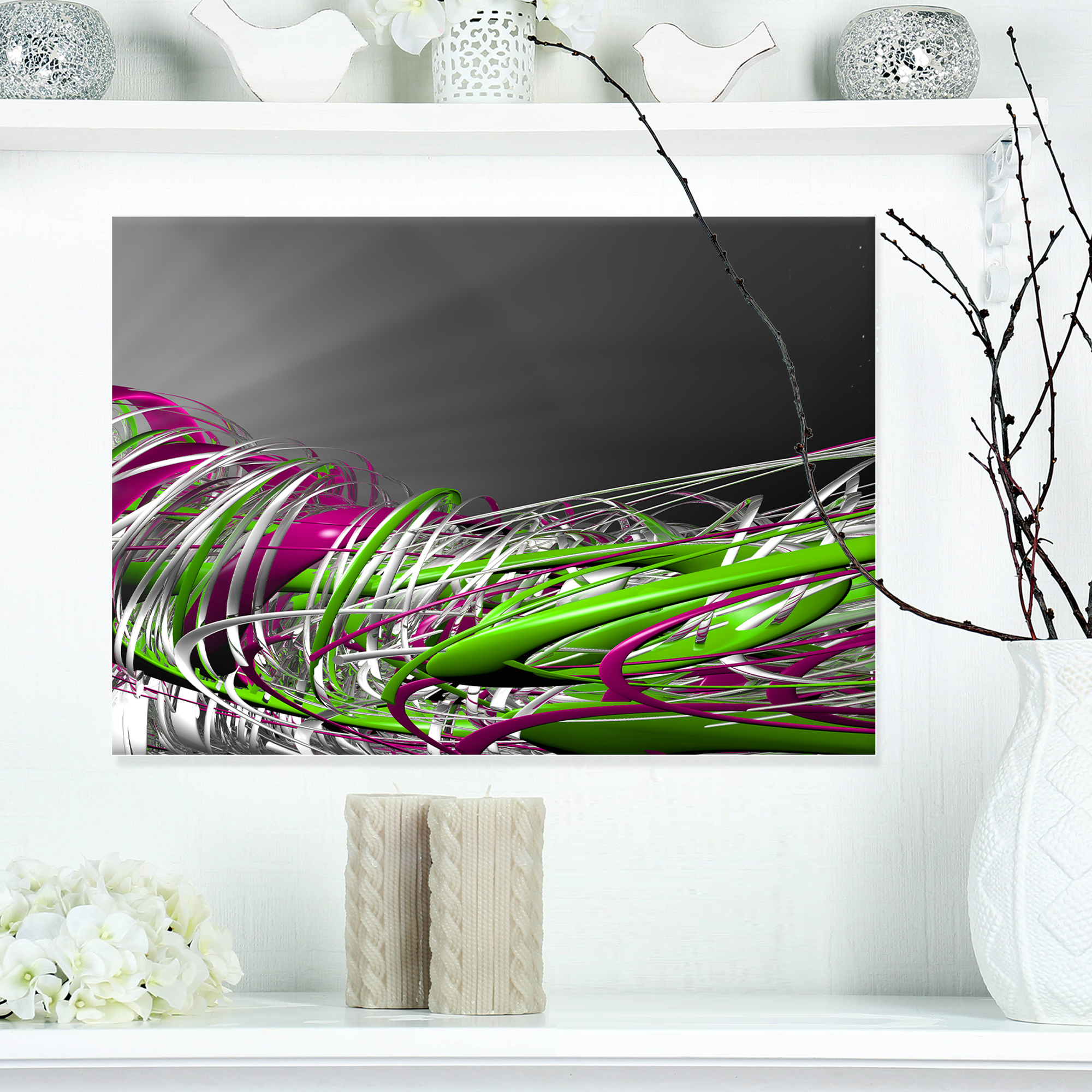 ABSTRACT FRACTAL GREEN PURPLE FLOWER CANVAS PRINT WALL ART PICTURE PHOTO