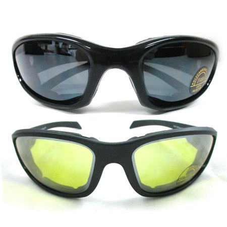 b38edaf56f 1 2 or 3 Pairs Combo Foam Padded Clear Smoke Yellow Motorcycle Riding  Glasses - Walmart.com