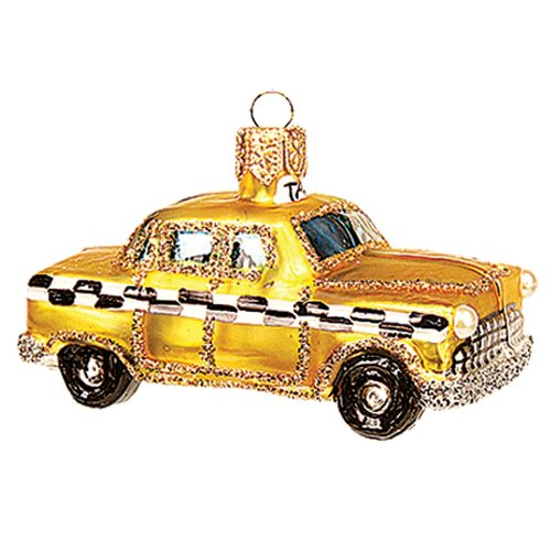 Pinnacle Peak Trading Co Pinnacle Peak Glass Miniature New York City Taxi Christmas Ornament