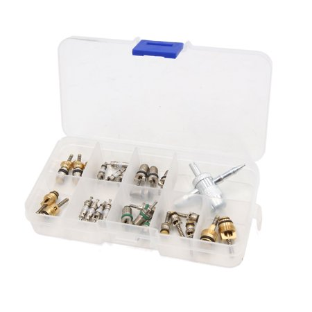 29Pcs Metal Air Conditioning Valve Stem Core w 4 Way Wrench Tool