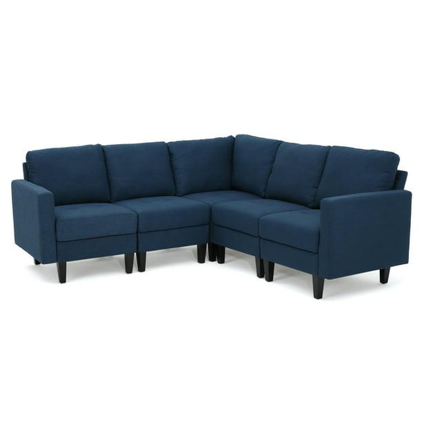 Carolina Fabric Sectional Couch, Dark Blue