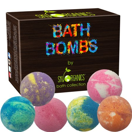 Bath Bombs Gift Set by Sky Organics, 6 x 5 Oz Ultra Lush Huge Bath Bombs Kit, Aromatherapy, Relaxation, Moisturizing with Organic & Natural Essential Oils -Handmade Organic Spa Bomb (Lush Shoot For The Stars Bath Bomb)