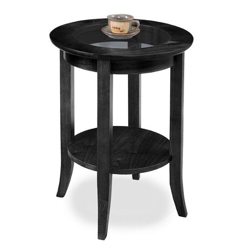 KD Furnishings Solid Oak Slate Black Round Side Table