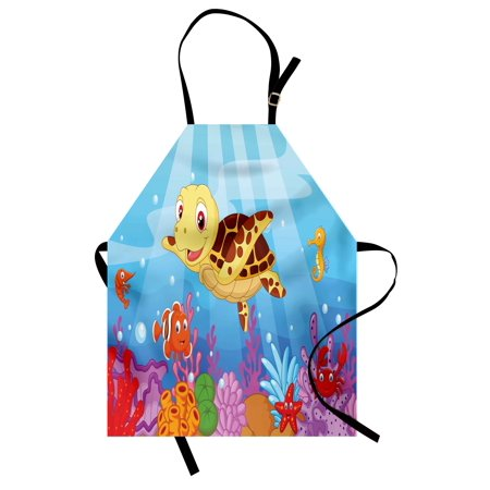 Turtle Apron Funny Adorable Cartoon Style Underwater Sea Animals Baby Turtle and Fish Collection, Unisex Kitchen Bib Apron with Adjustable Neck for Cooking Baking Gardening, Multicolor, by Ambesonne