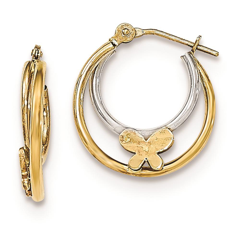 14k Two-tone Childrens Madi k Polished Butterfly Hoop Earrings 17mm x 3mm