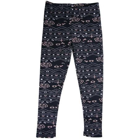 HDE Girls Fleece Winter Knit Leggings Kids Nordic Stretch Pants Footless Tights Heart Star Medium 7-8 Heart Star Medium 7 8