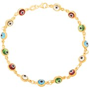 Lesa Michele Sterling Silver 5mm Red and Yellow Evil Eye Bracelet in Sterling Silver