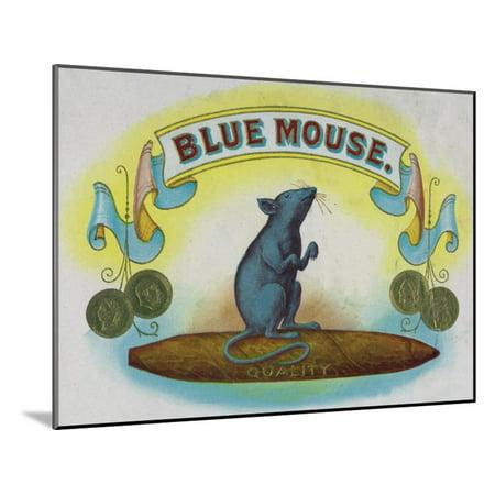 Blue Mouse Brand Cigar Box Label Wood Mounted Print Wall Art By Lantern Press
