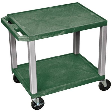 H. Wilson Tuffy 2-Shelf A/V Cart with Electric, Hunter Green Shelves and Nickel Legs