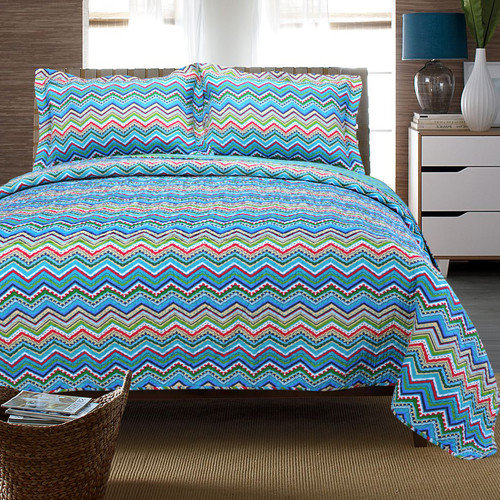 Simple Luxury Zig Zag Cotton 3 Piece Quilt Set