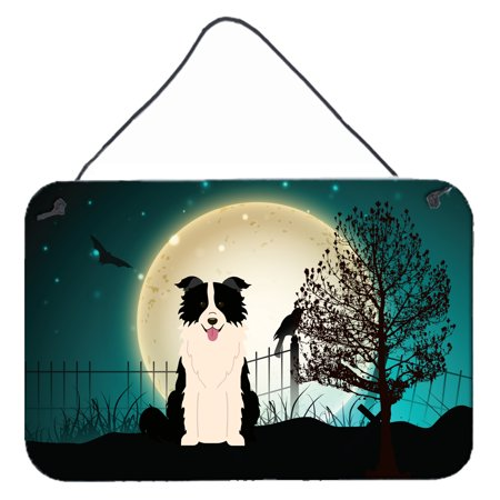 Halloween Border Clipart Black And White (Halloween Scary Border Collie Black White Wall or Door Hanging Prints)