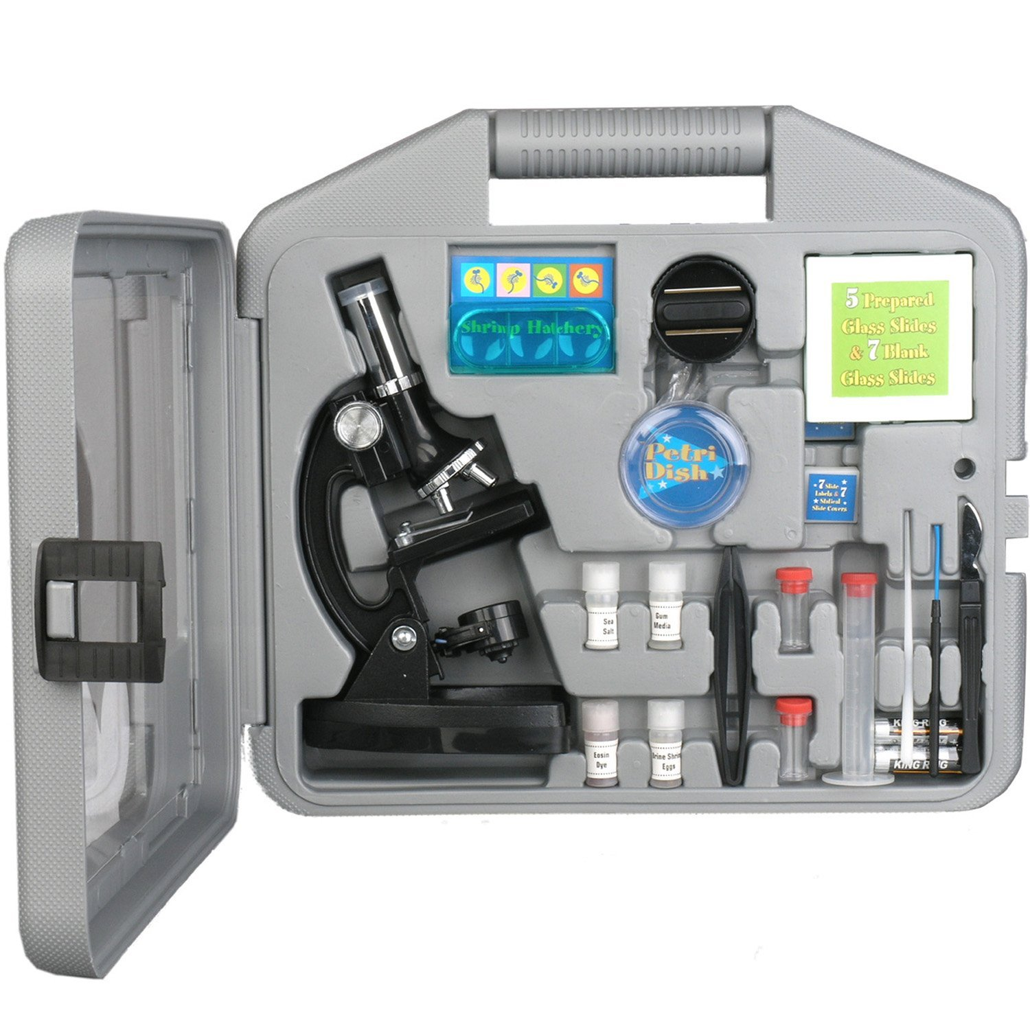 AMSCOPE-KIDS M30-ABS-KT2 Starter Microscope Kit, Metal Frame, 120X, 240X, 300X, 480X, 600X, and 1200X Magnifications, 2 Eyepieces and 49 Accessories and Case