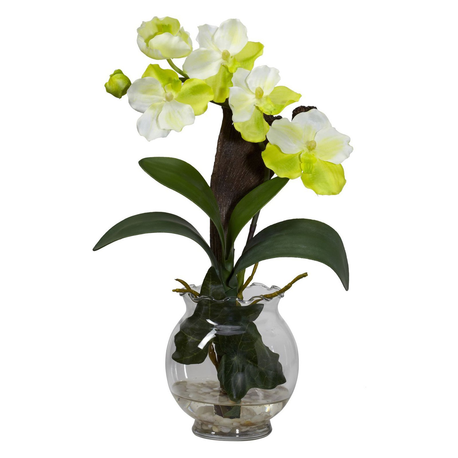 Nearly Natural Mini Vanda Silk Flower Arrangement with Fluted Vase, White