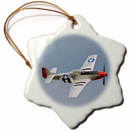 German Wwii Fighter Planes (3dRose P-51D Mustang Fighter WWII war plane - US50 BFR0014 - Bernard Friel, Snowflake Ornament, Porcelain, 3-inch)