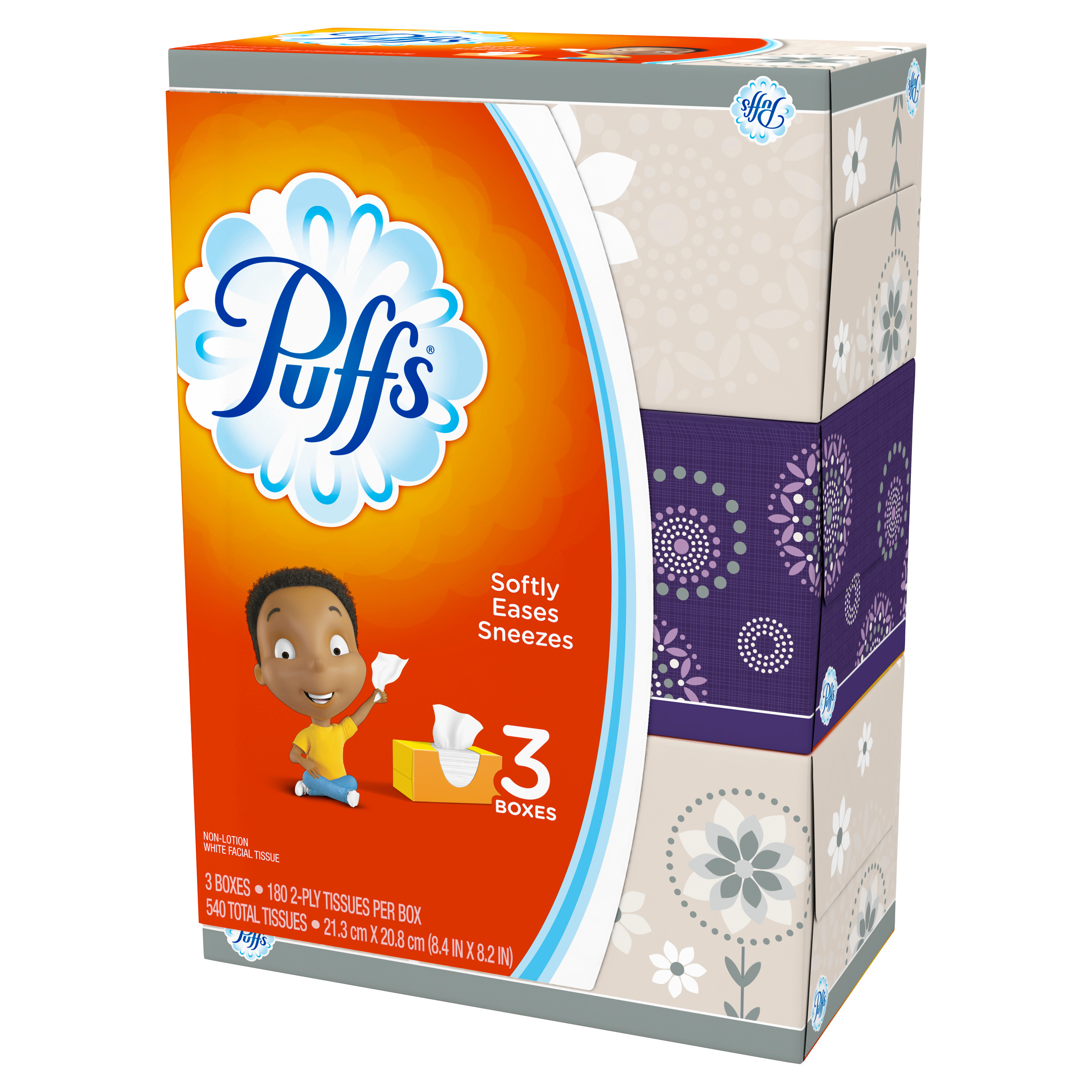 Puffs Basic Facial Tissues, 3 family boxes, 180 tissues per box -PGC87615